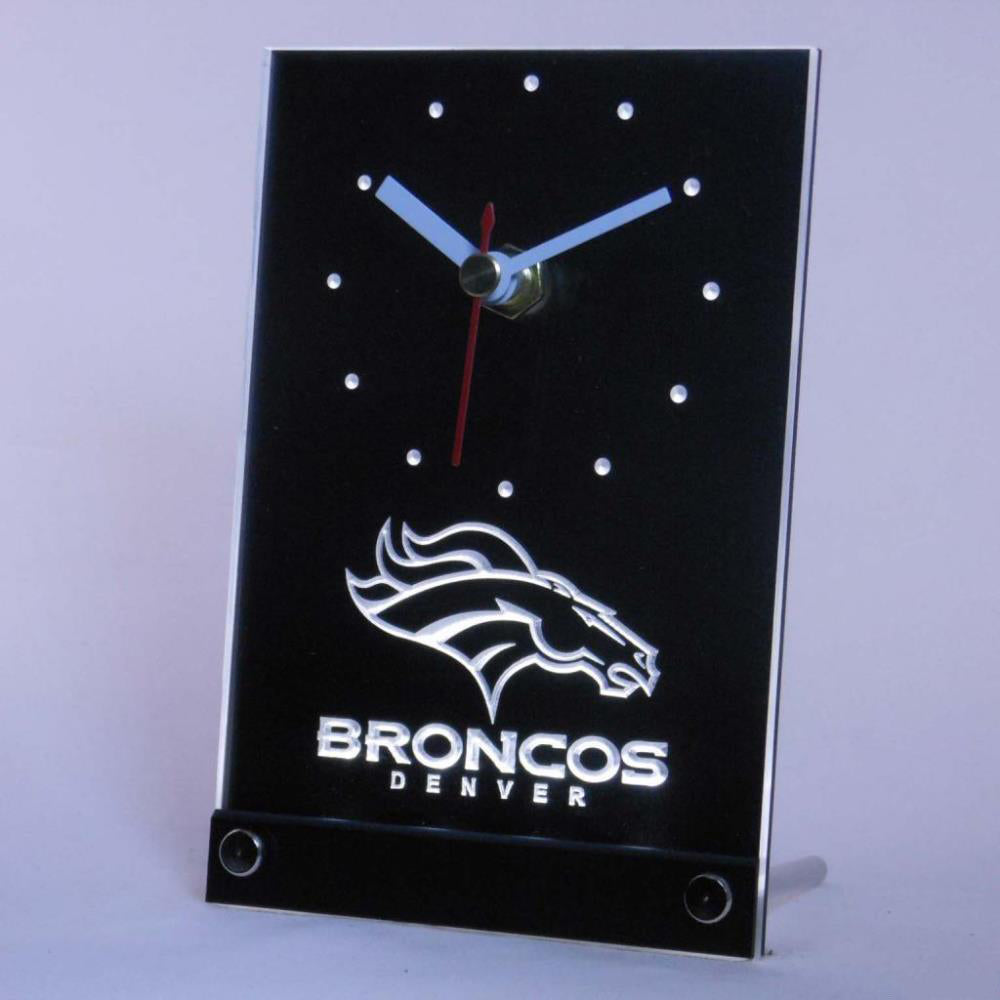 Denver Broncos Table Desk 3D LED Clocks Handled