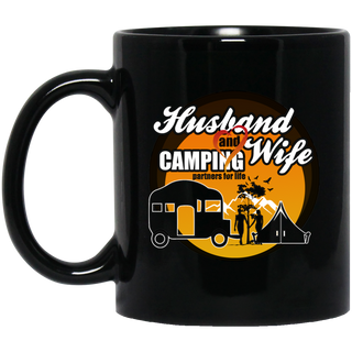 Husband And Wife Camping Partners For Life Black Mugs