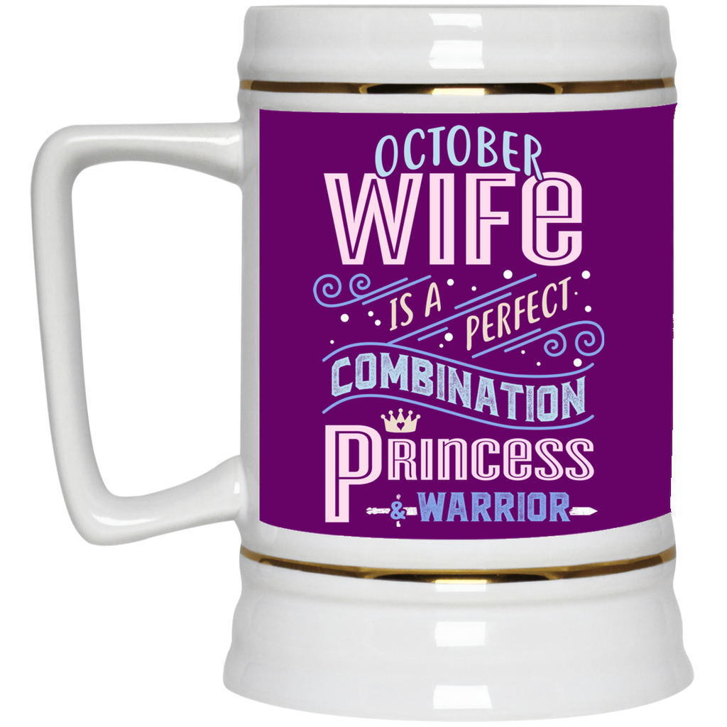 October Wife Combination Princess And Warrior Mugs