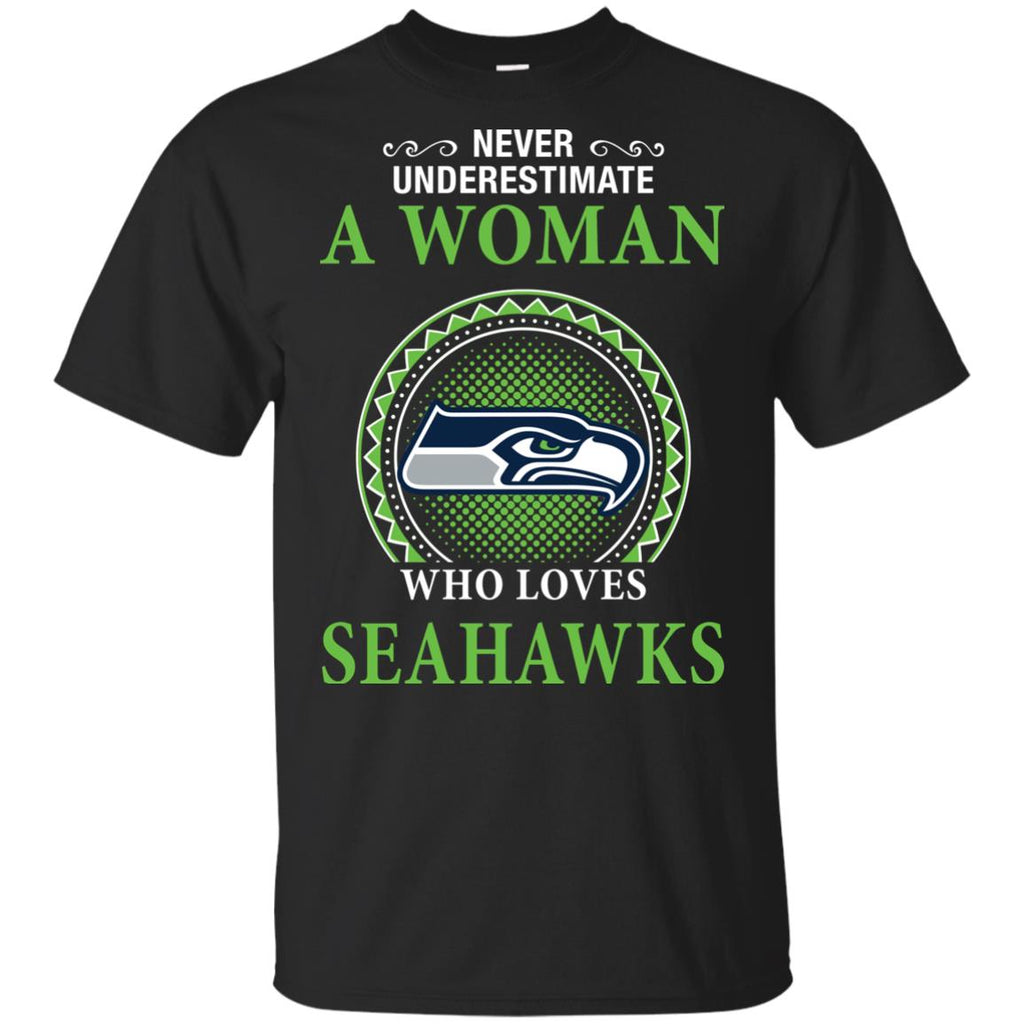 Never Underestimate A Woman Who Loves Seattle Seahawks Sweaters