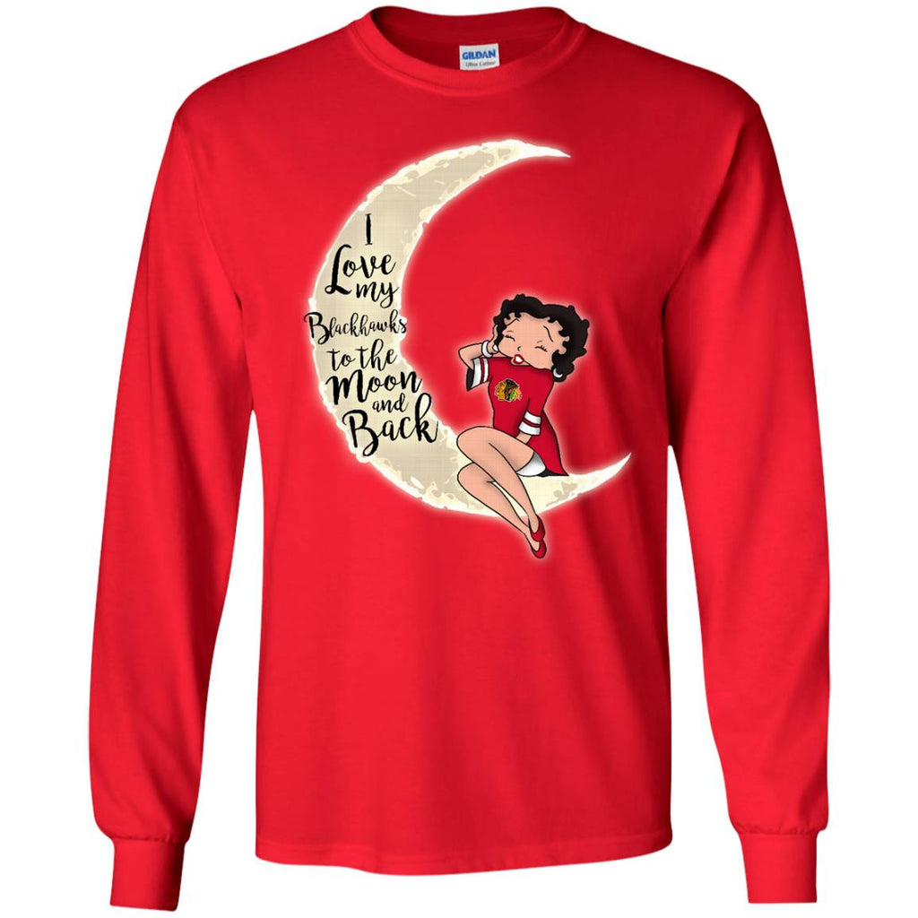 BB I Love My Chicago Blackhawks To The Moon And Back T Shirt - Best Funny Store
