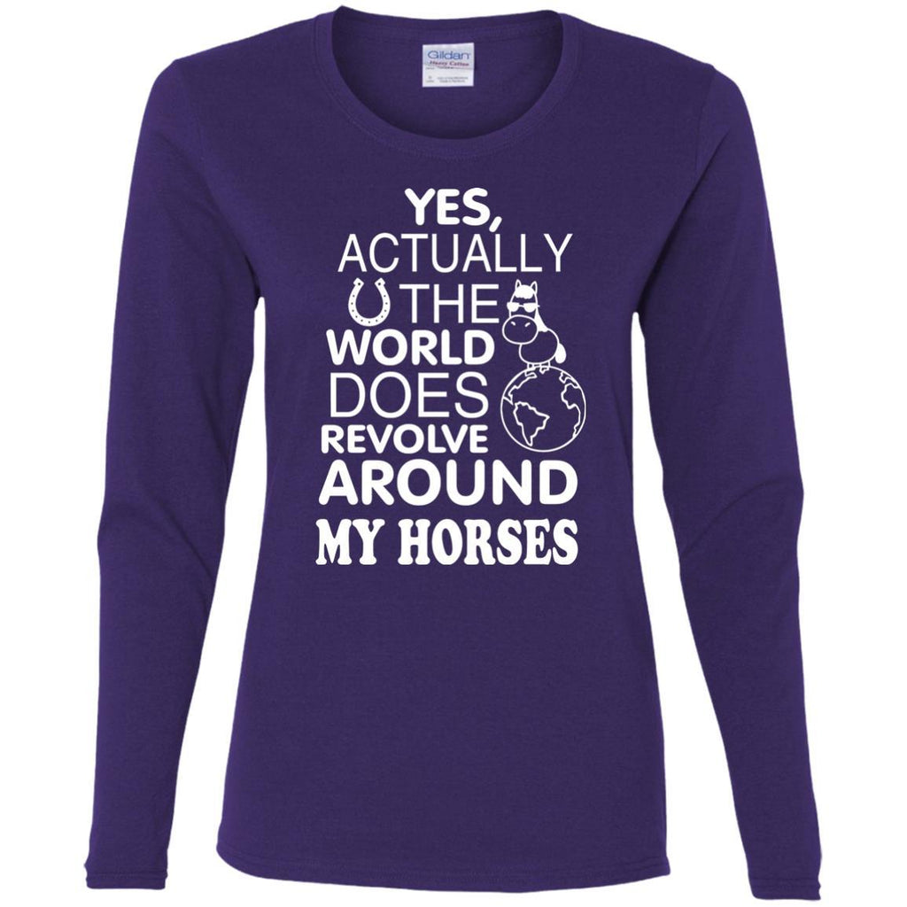 The World Does Revolve Around My Horses T Shirts