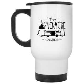 The Adventure Begins Camping Travel Mugs