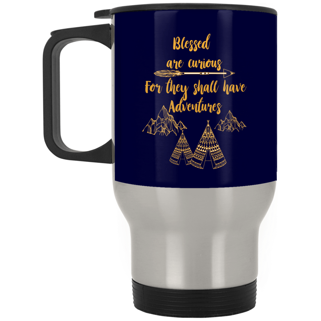 Blessed Are Curious For They Shall Have Adventures Camping Mugs
