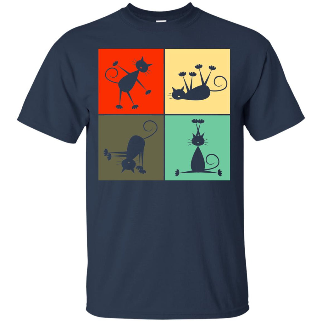 Yoga Retro Cat T Shirts