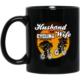 Husband And Wife Cycling Partners For Life Black Mugs