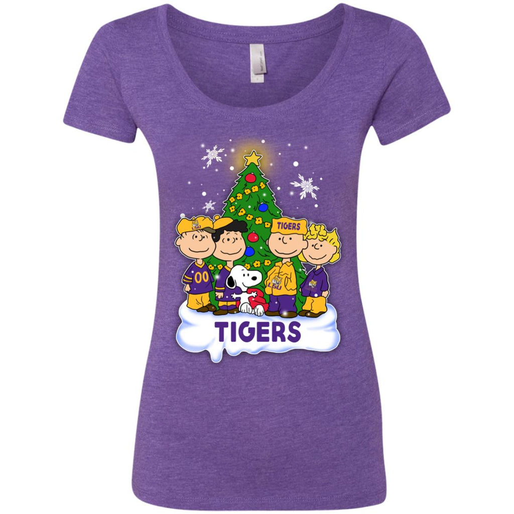 Snoopy The Peanuts LSU Tigers Christmas T Shirts