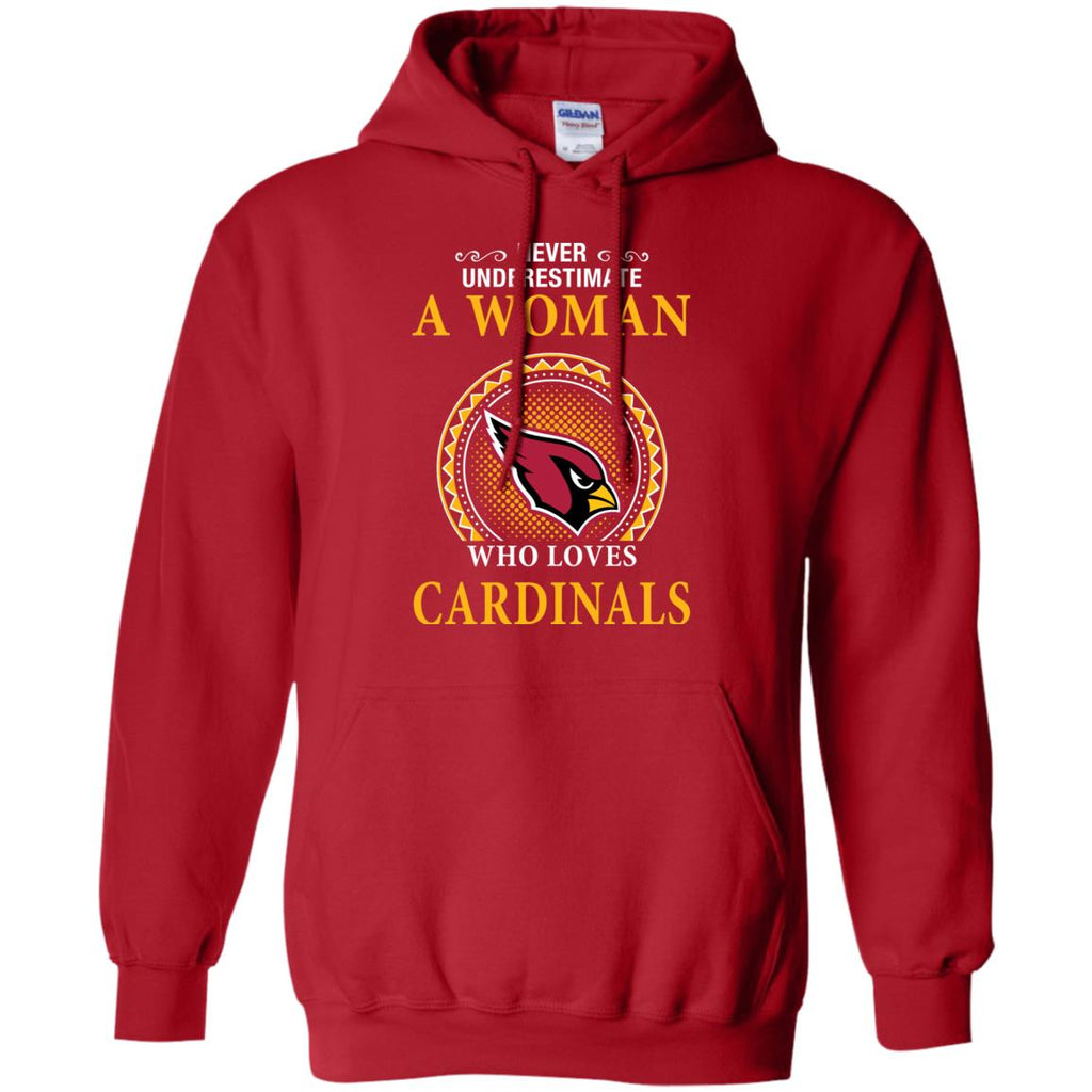 Never Underestimate A Woman Who Loves Arizona Cardinals Sweaters