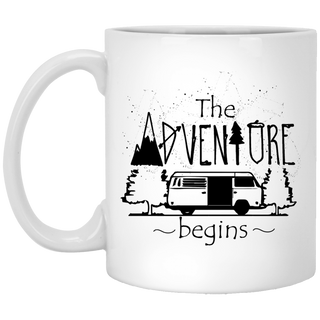 The Adventure Begins Camping Mugs