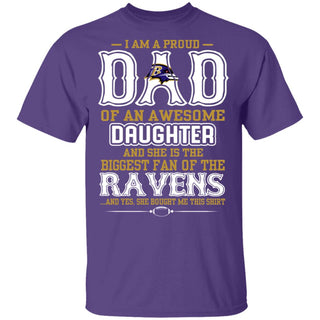 Proud Of Dad With Daughter Baltimore Ravens T Shirt