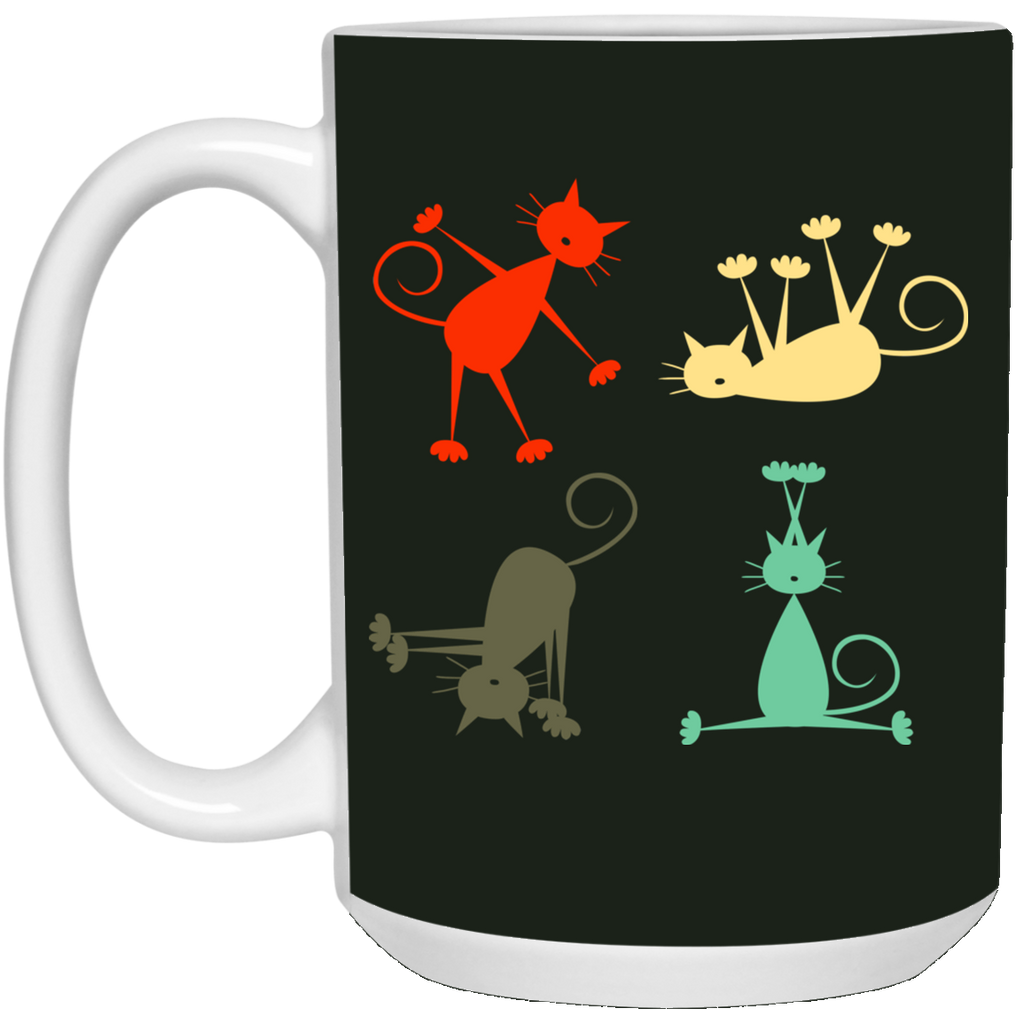 Yoga Retro Cat Mugs