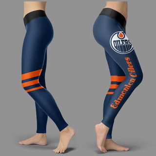 Through Great Logo Spread Body Striped Circle Edmonton Oilers Leggings