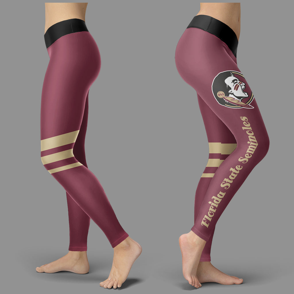 Through Great Logo Spread Body Striped Circle Florida State Seminoles Leggings