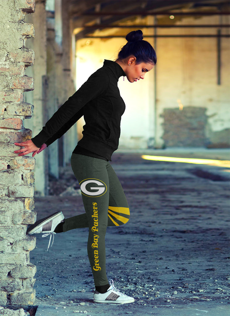 Through Great Logo Spread Body Striped Circle Green Bay Packers Leggings