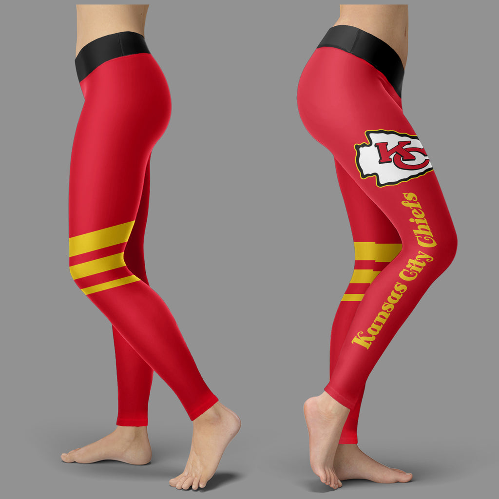 Through Great Logo Spread Body Striped Circle Kansas City Chiefs Leggings