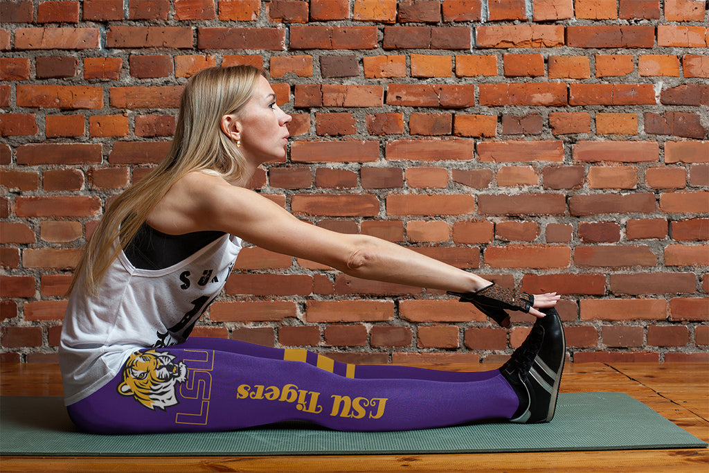 Through Great Logo Spread Body Striped Circle LSU Tigers Leggings
