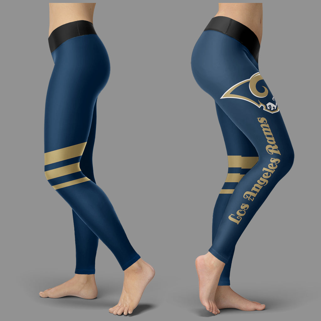 Through Great Logo Spread Body Striped Circle Los Angeles Rams Leggings