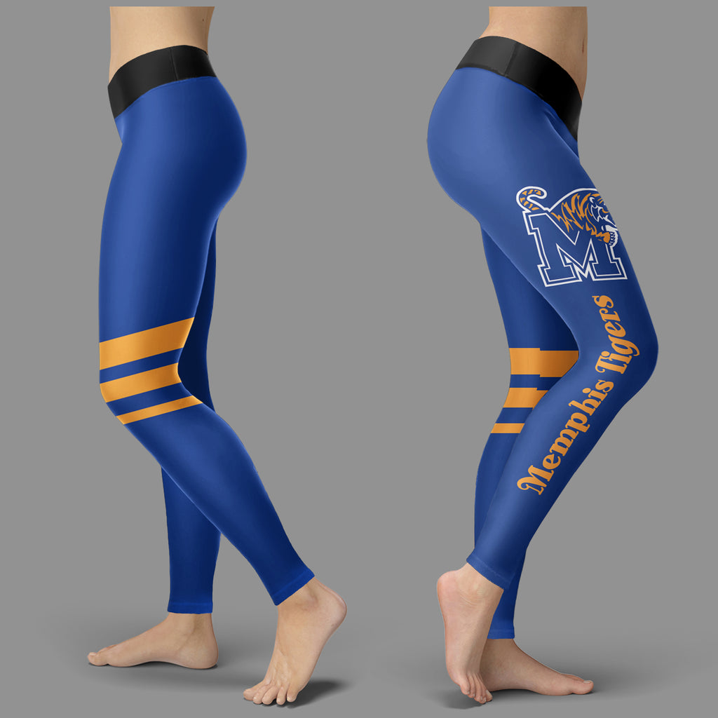 Through Great Logo Spread Body Striped Circle Memphis Tigers Leggings