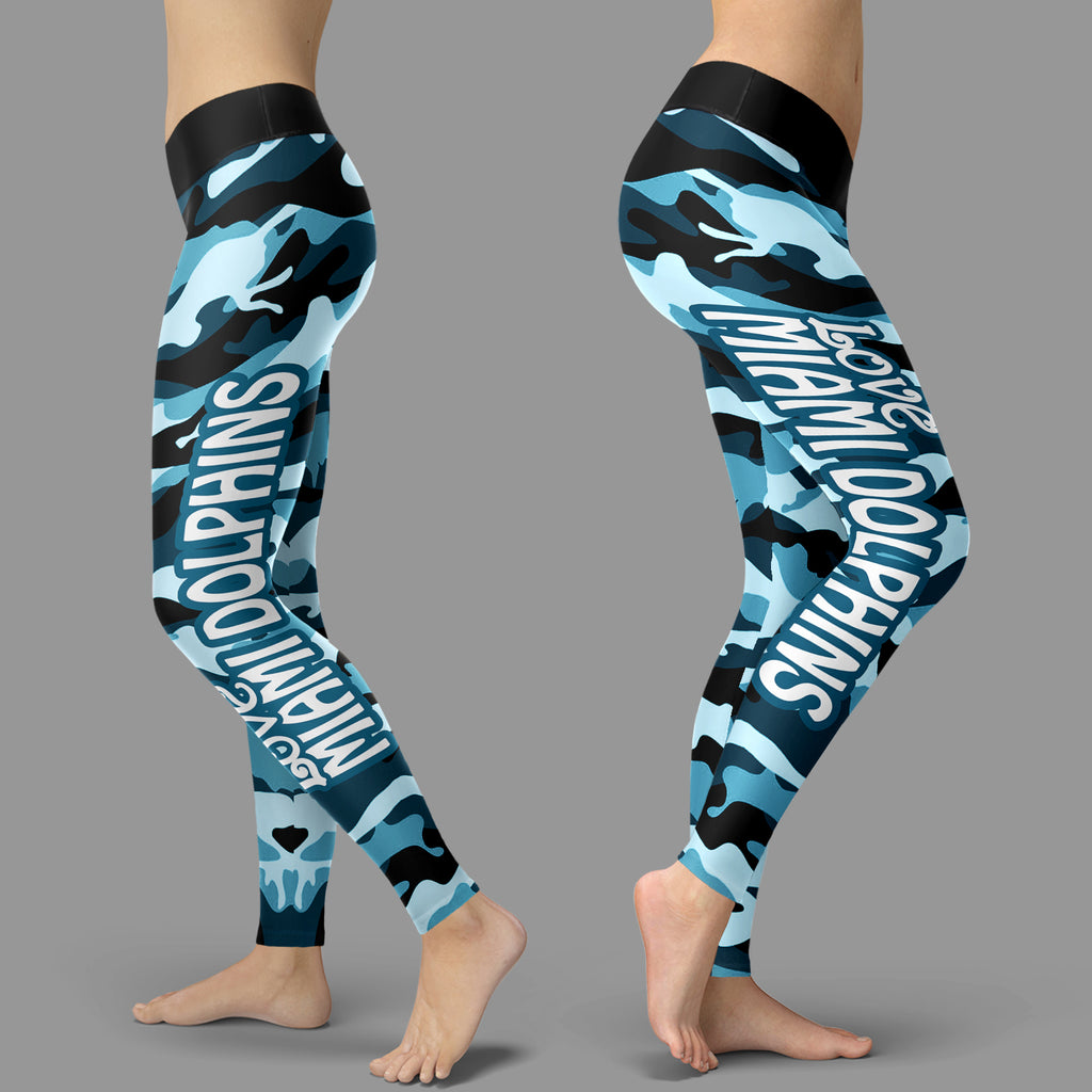 Camo Sporty Trending Fashion Fabulous Miami Dolphins Leggings