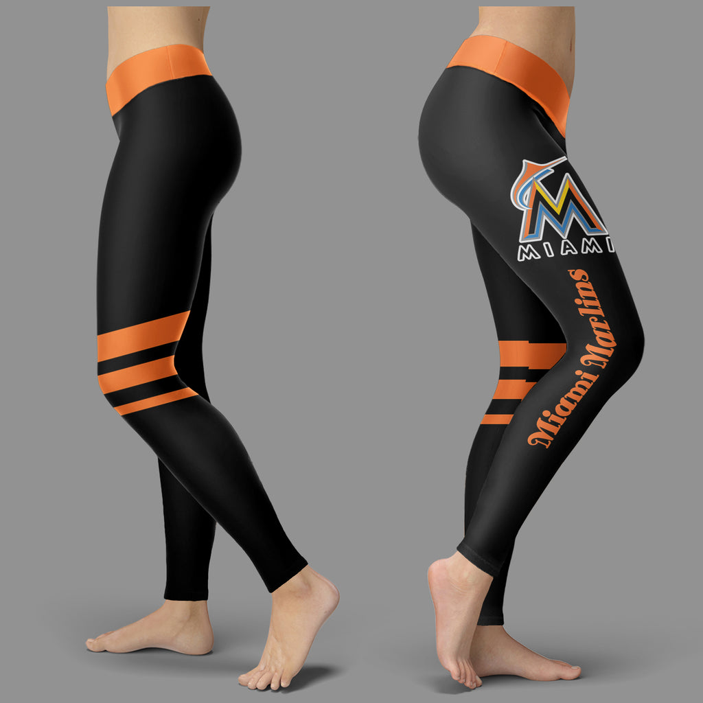 Through Great Logo Spread Body Striped Circle Miami Marlins Leggings