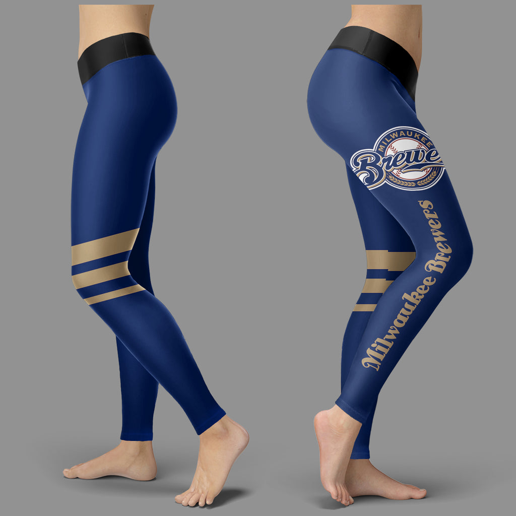 Through Great Logo Spread Body Striped Circle Milwaukee Brewers Leggings