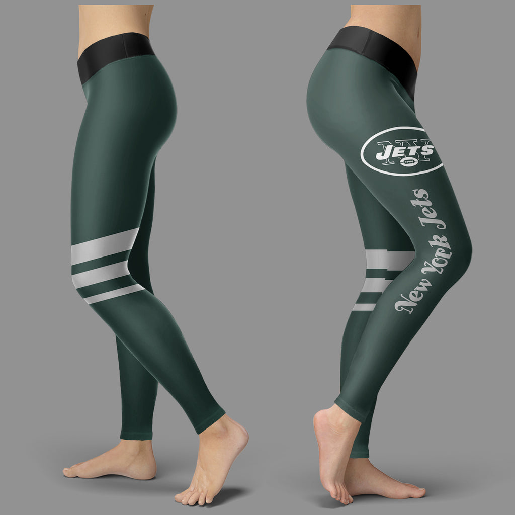 Through Great Logo Spread Body Striped Circle New York Jets Leggings