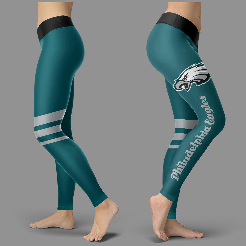 Through Great Logo Spread Body Striped Circle Philadelphia Eagles Leggings