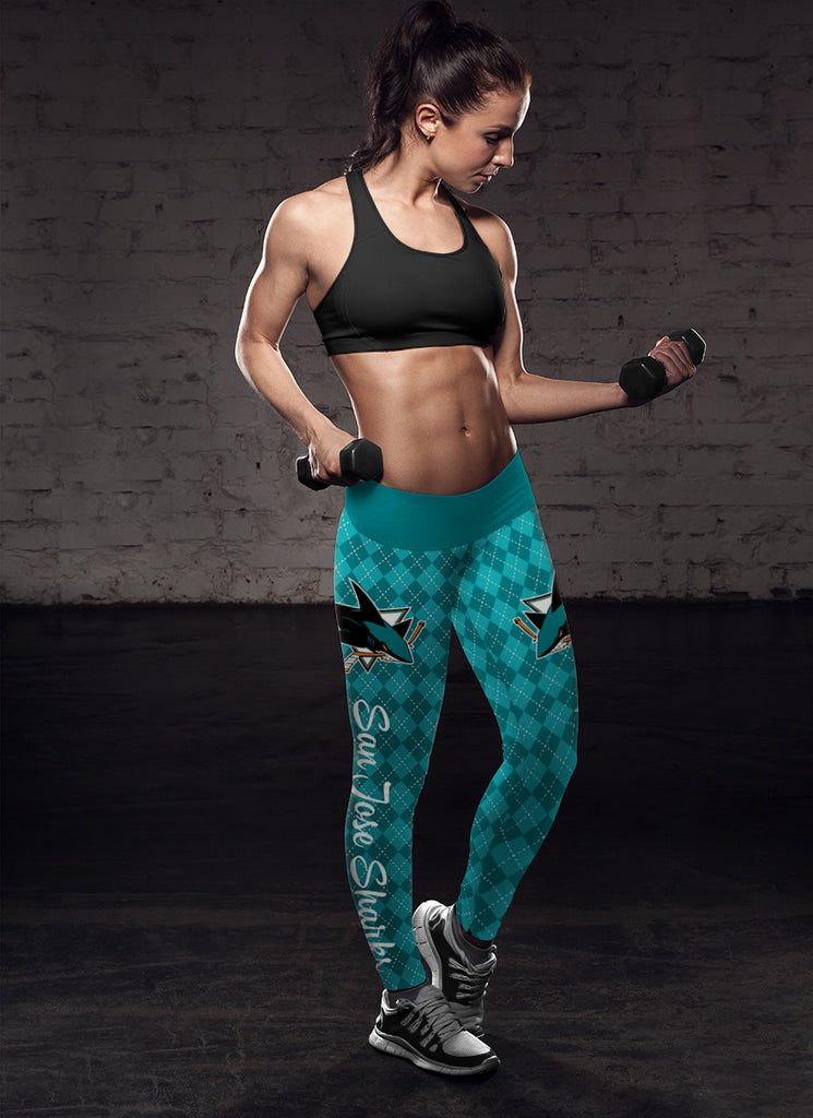 Cosy Seamless Border Wonderful San Jose Sharks Leggings