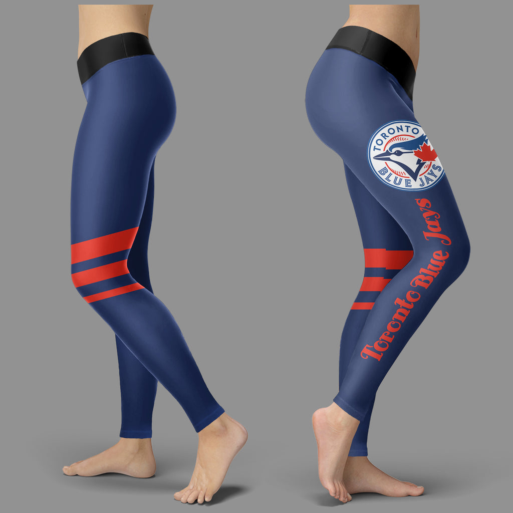 Through Great Logo Spread Body Striped Circle Toronto Blue Jays Leggings