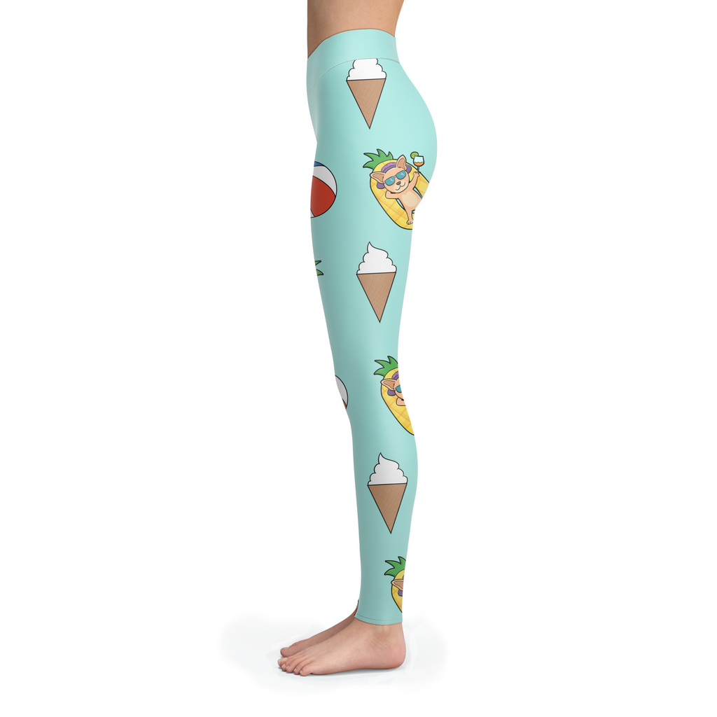 Pineapple Pool Float Beach Pattern Chihuahua Leggings