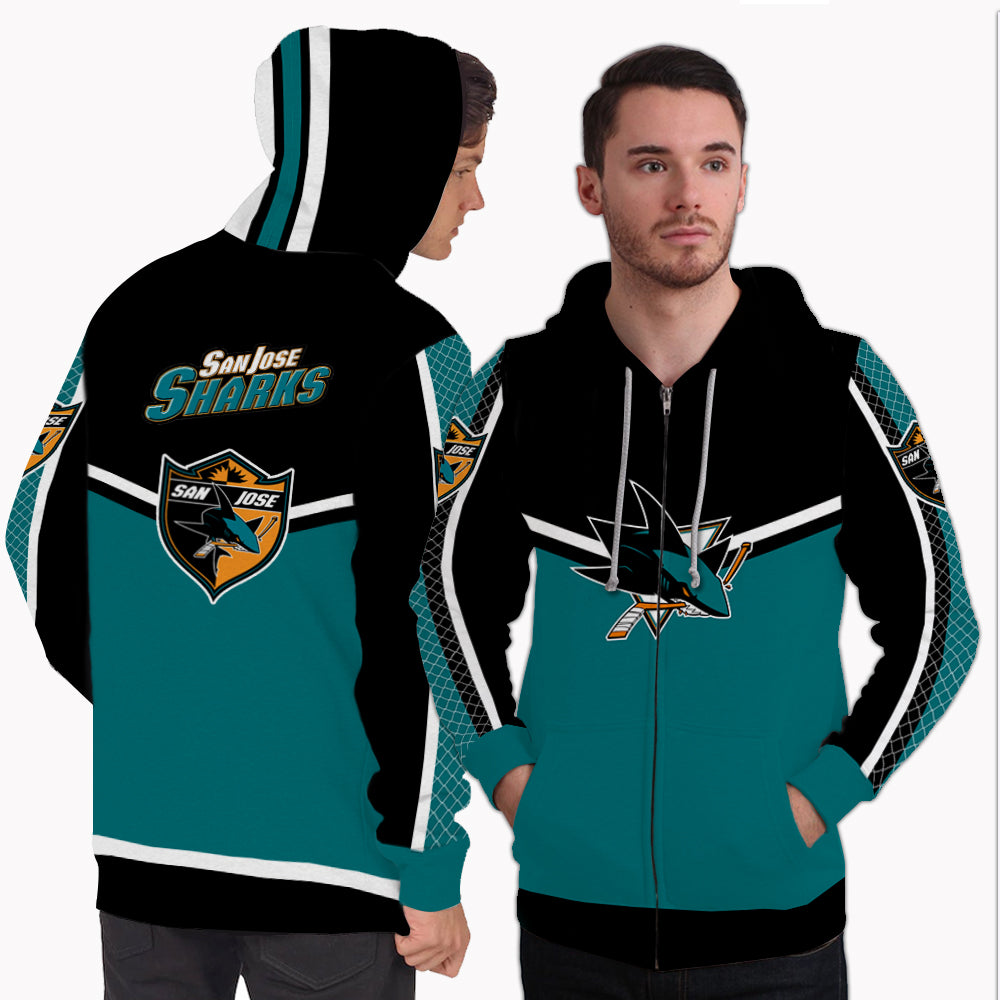 Fashion Gorgeous Fitting San Jose Sharks Zip Hoodie