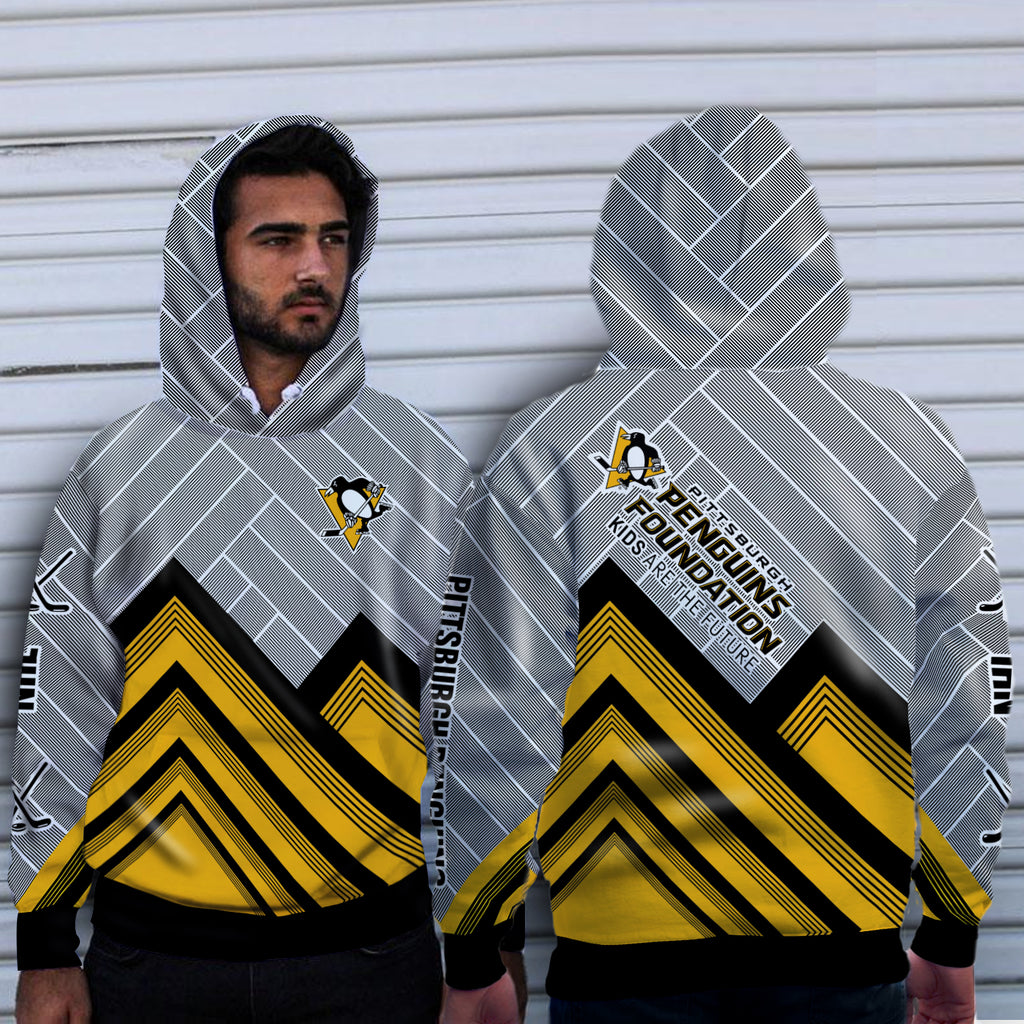 Black Cross Line Pittsburgh Penguins Hoodie