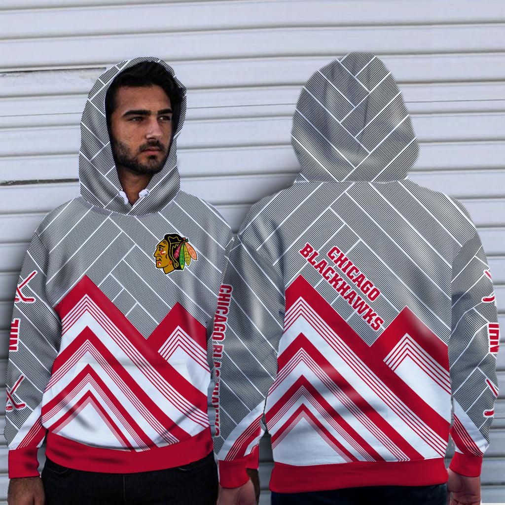 Black Cross Line Chicago Blackhawks Hoodie
