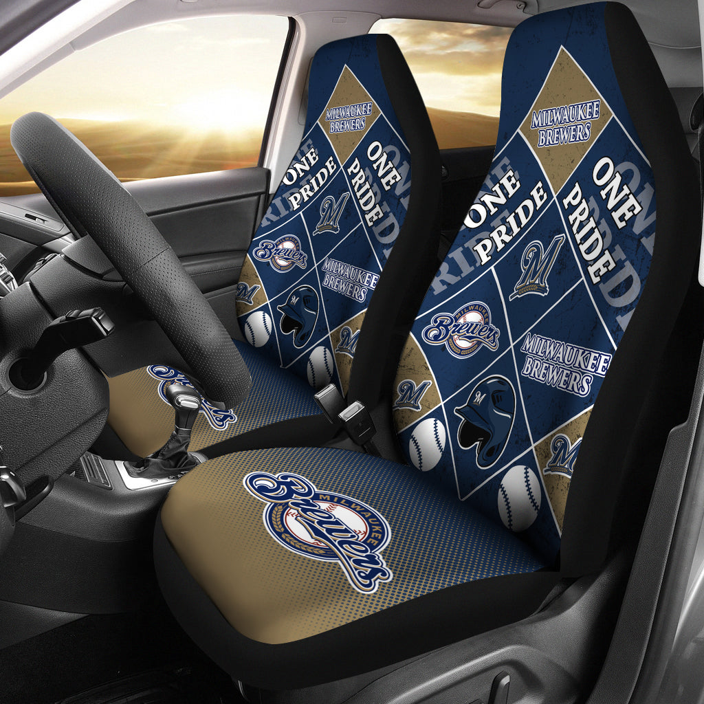 Pride Flag Milwaukee Brewers Car Seat Covers