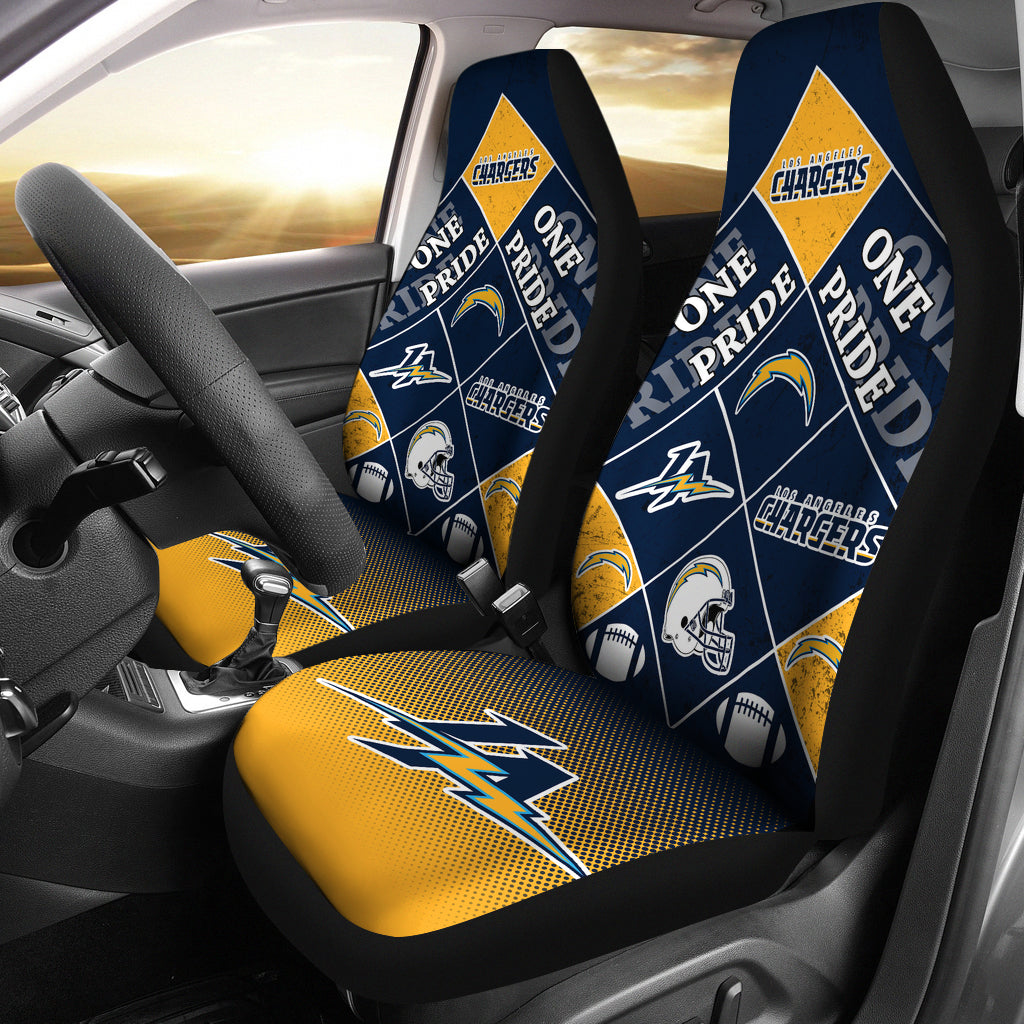 Pride Flag Los Angeles Chargers Car Seat Covers