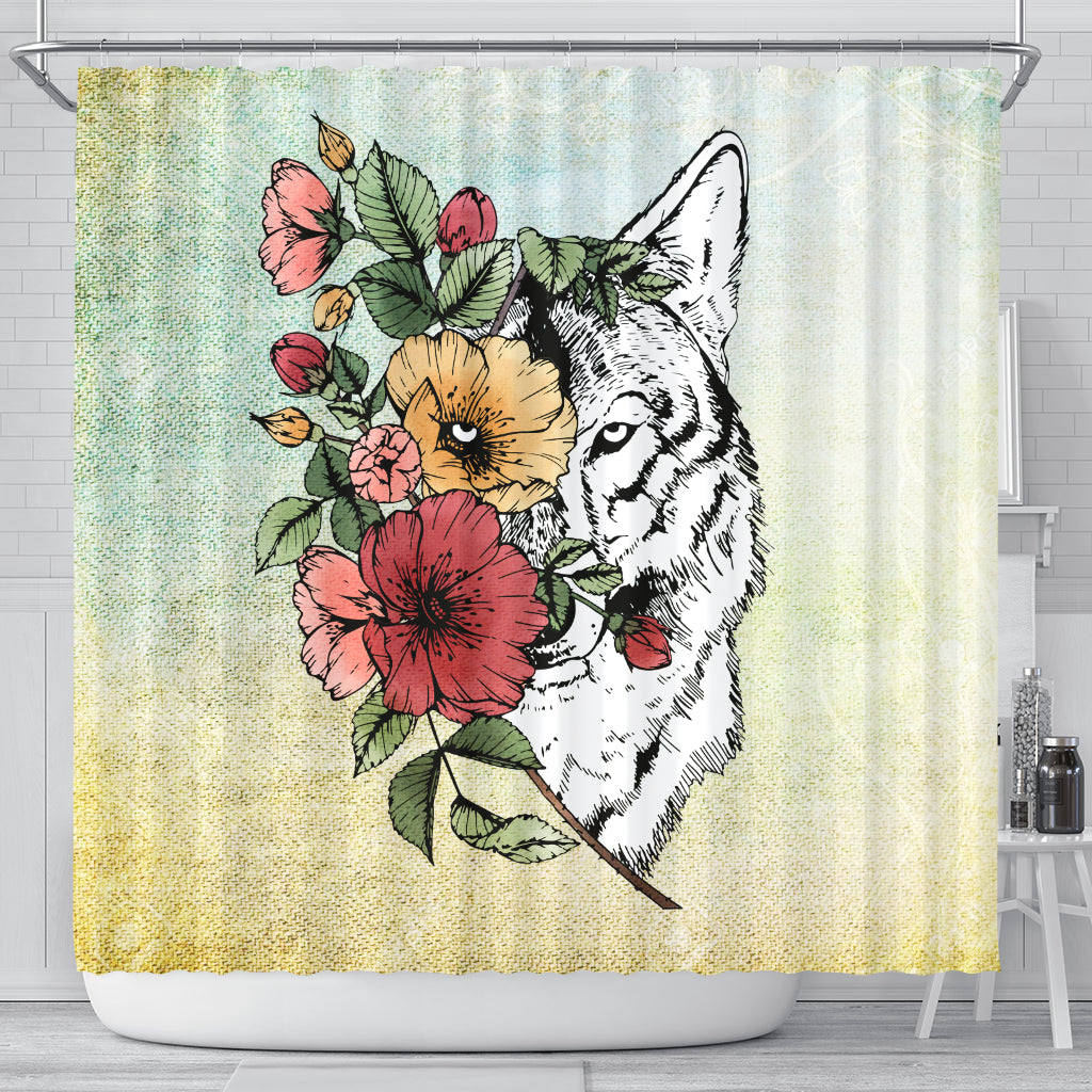 Half Face Wolf Shower Curtains