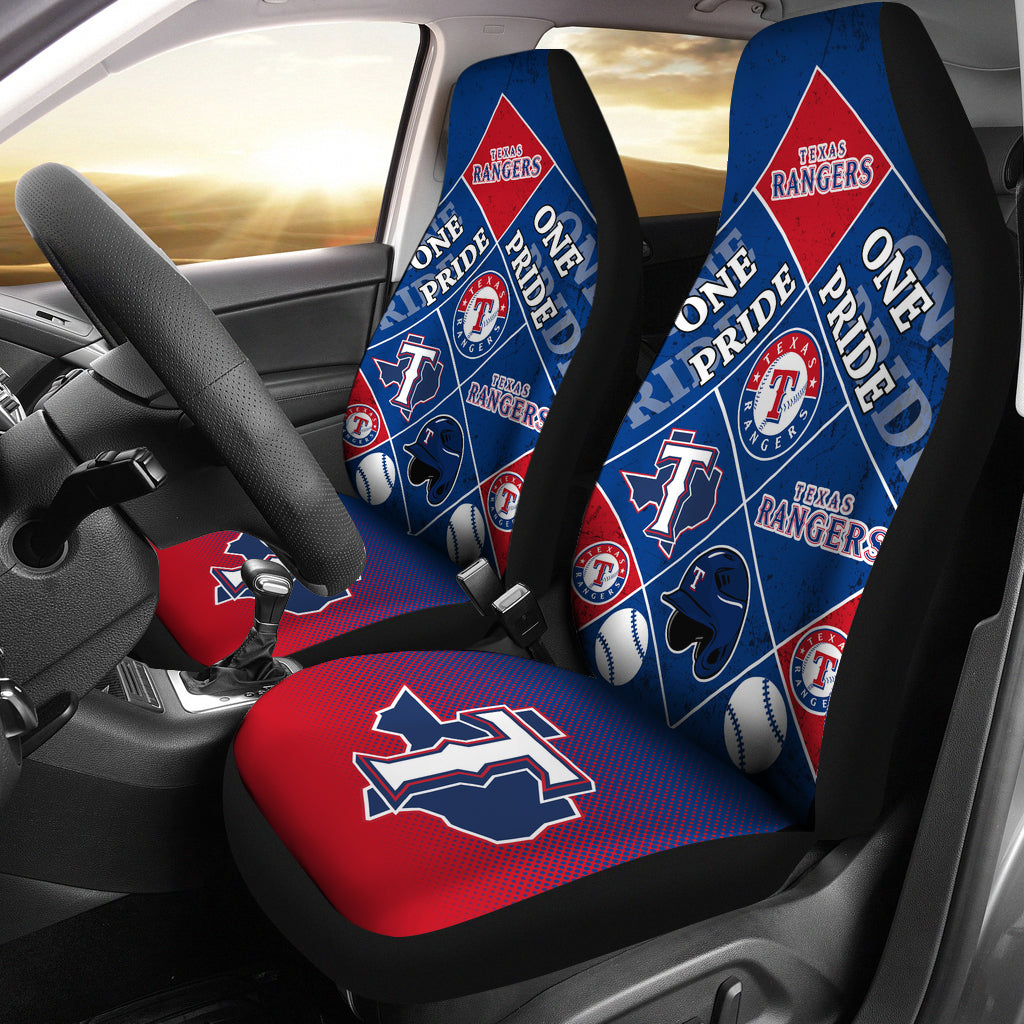 Pride Flag Texas Rangers Car Seat Covers