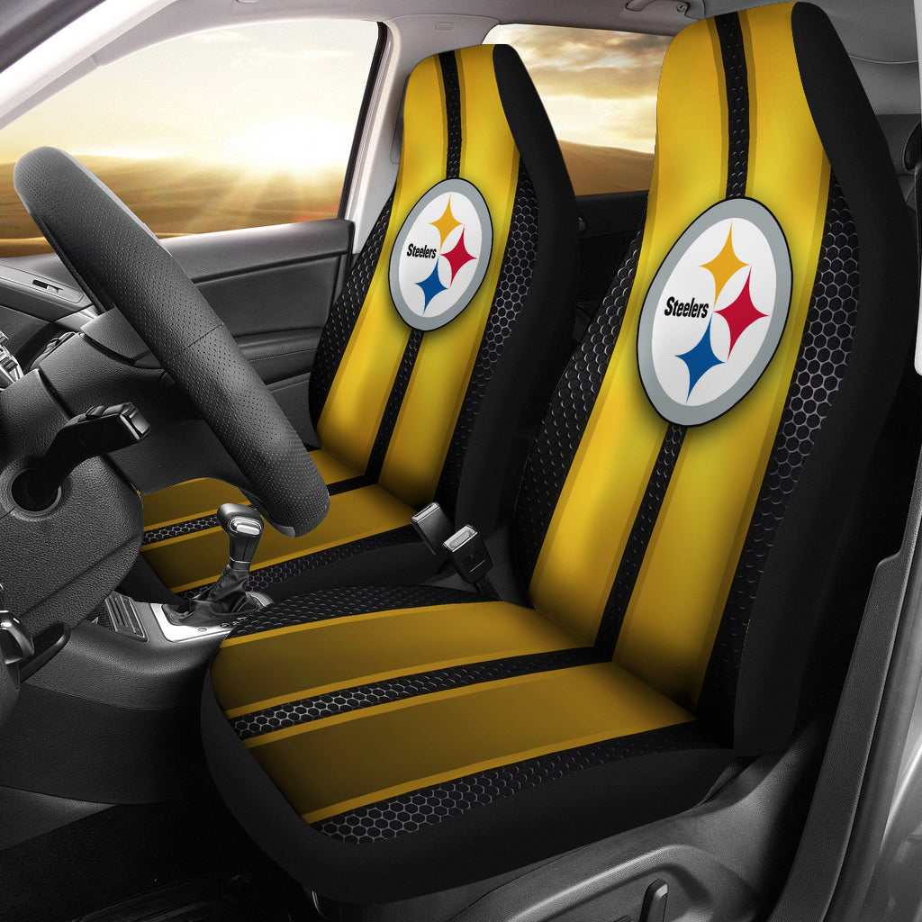 Hot Incredible Line Pattern Pittsburgh Steelers Logo Car Seat Covers  hot sale