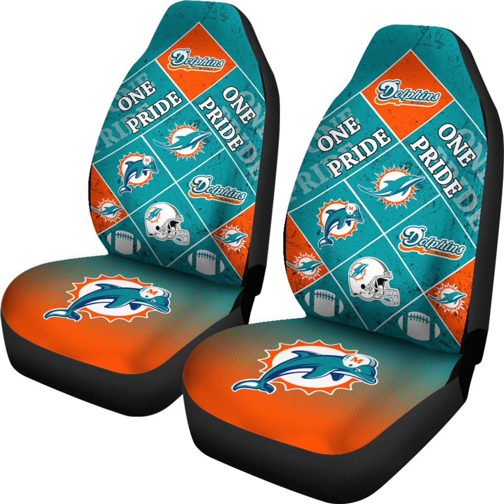 Pride Flag Miami Dolphins Car Seat Covers