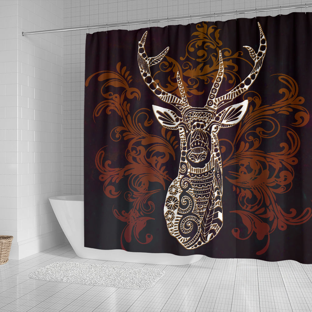 Deer Zentangle Style Shower Curtains