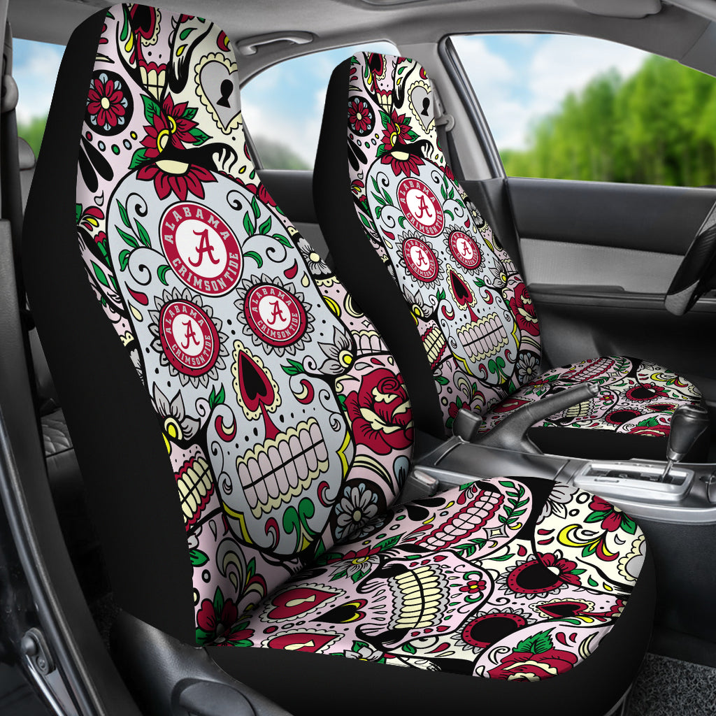 Amazing Party Skull Alabama Crimson Tide Car Seat Covers Ibusinesslaw Wood Chair Design Ideas Ibusinesslaworg