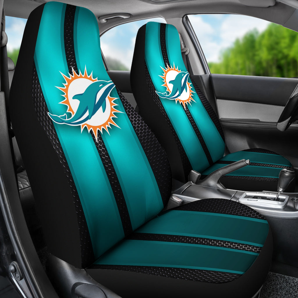 Astonishing Incredible Line Pattern Miami Dolphins Logo Car Seat Covers Pabps2019 Chair Design Images Pabps2019Com