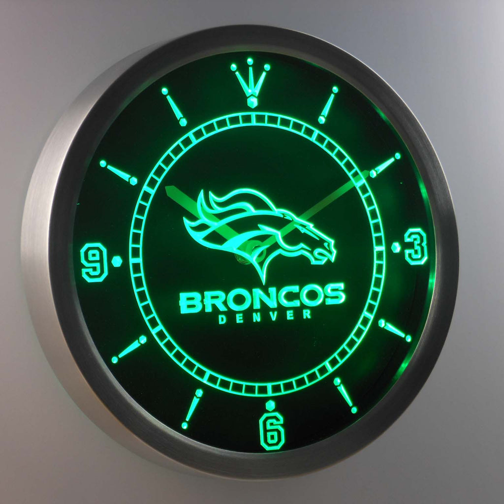 Denver Broncos Neon Sign LED Wall Clock Handled