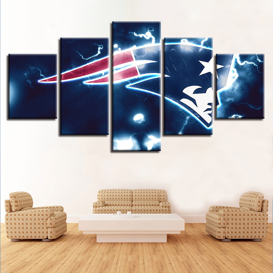 Home Decor Art 5 Pcs New England Patriots Canvas Painting Prints Wall