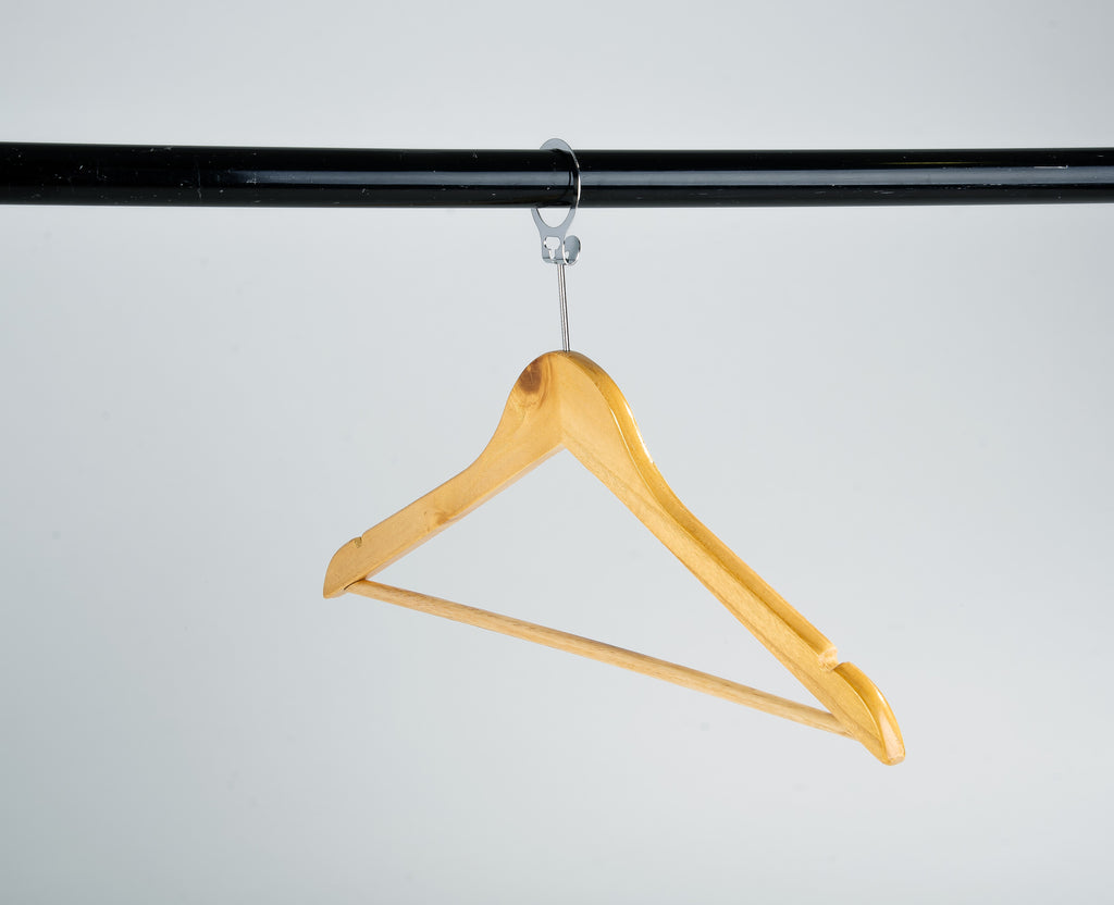 Wooden Hanger w/ Trouser Bar & Skirt Notches (Security Pin) FH - Gailarde Ltd