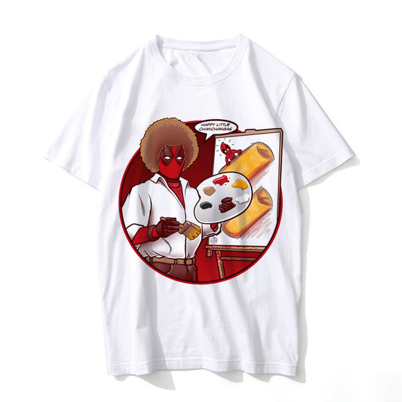 Bob Ross Deadpool Painting Chimichangas T-shirt