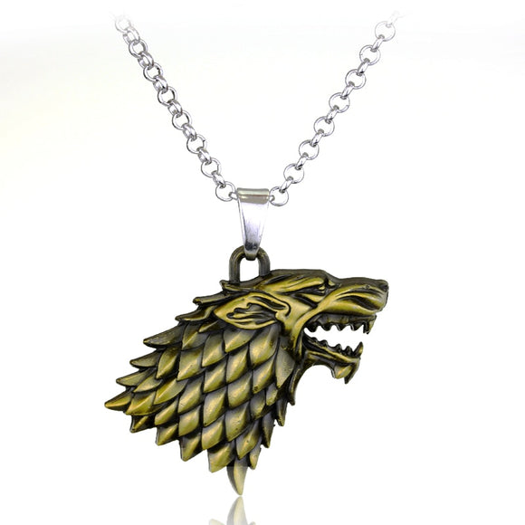 Game Of Thrones Necklace 3D Wolf Head Stark Crest Pendant Necklace