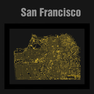 NITELANDING San Francisco Map - Lighting Decoration Art