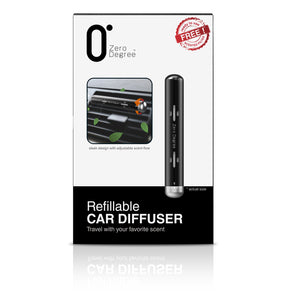 ZERO DEGREE: Refillable Car Diffuser (Box front) - a customisable air freshener that can clip to vehicle's air-conditioning vent. With a touch of seamless design and high-quality materials, it's a great scented companion for your car's interior.