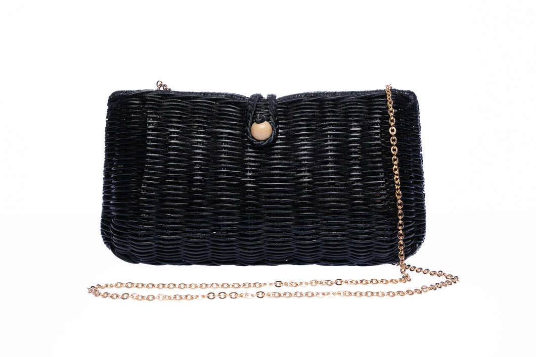 Myra Wicker Clutch Black